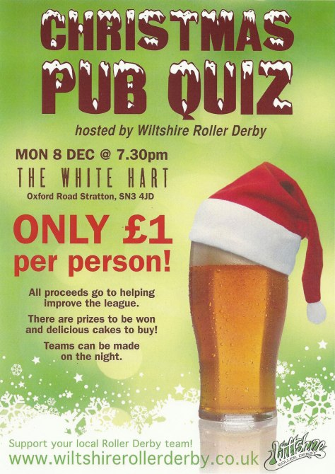 Monday 8th Dec 7:30pm The White Hart Only £1 per person All proceeds go to helping the league There are prizes to be won and delicious cakes to buy! Teams can be made on the night.