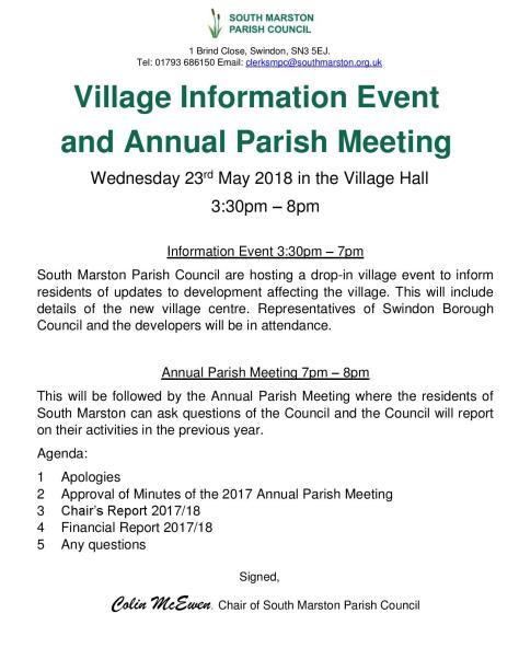Village Information Event & Annual Parish Meeting notice-page-001
