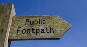 Public footpath wooden signpost