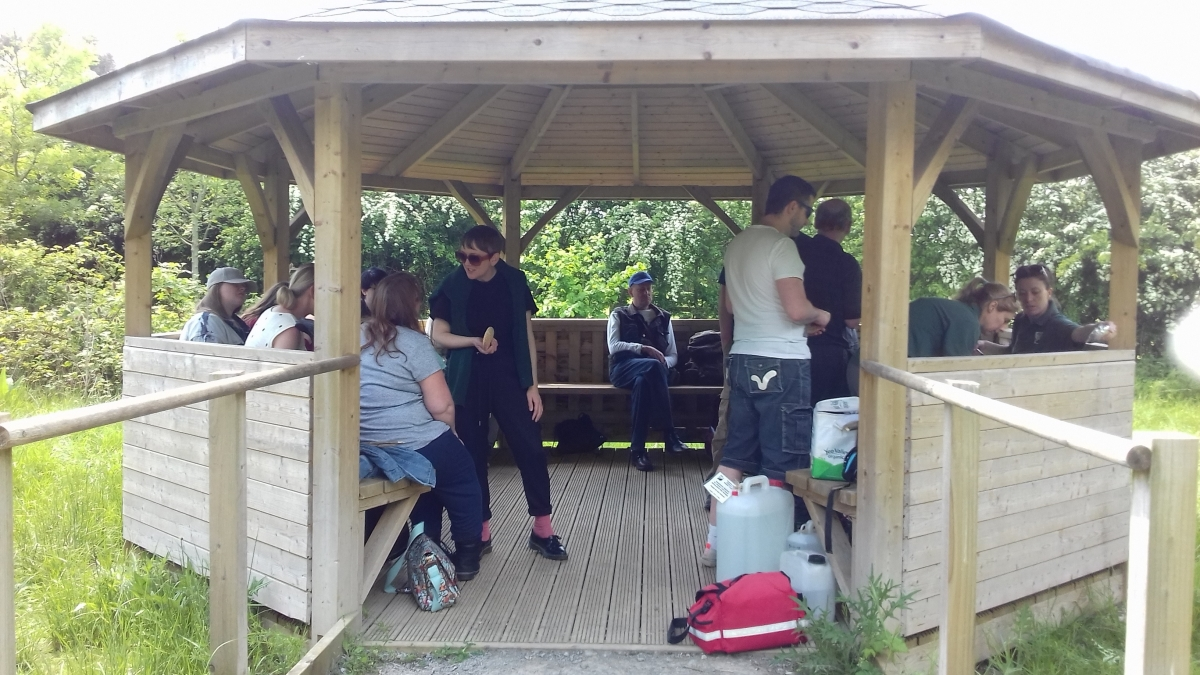 Health and wellbeing participants use the gazebo in Autumn 2019